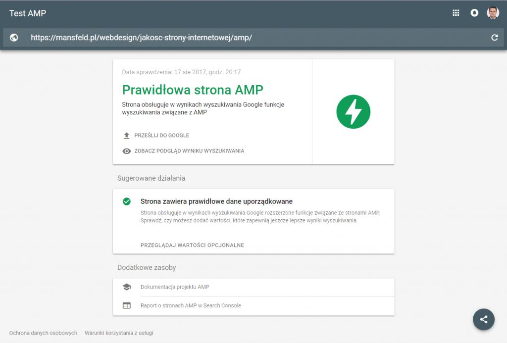 jakość stron internetowych - test amp