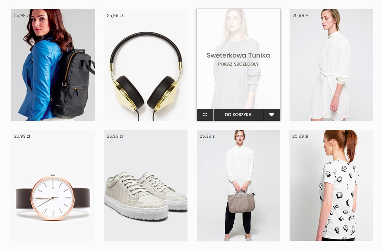 trendy web design 2018 - karty wecommerce