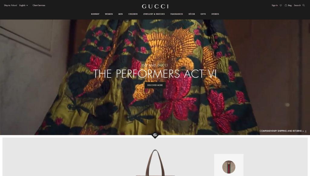 najładniejsze strony firmowe 2018 - Gucci