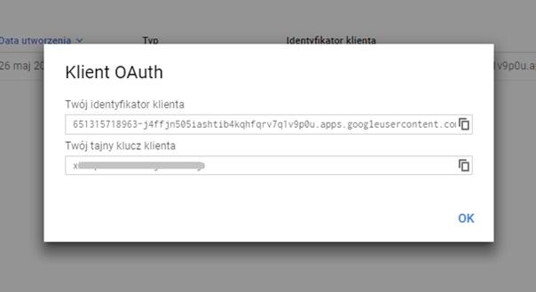 Identyfikator i klucz tajny OAuth