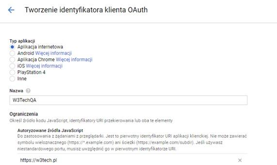 Tworzenie identyfikatora i klucz OAuth