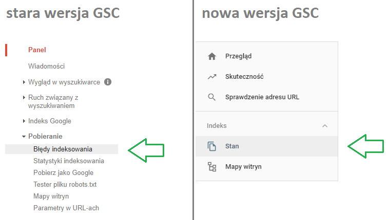 Błędy indeksowania - lokalizacja panelu zraportem