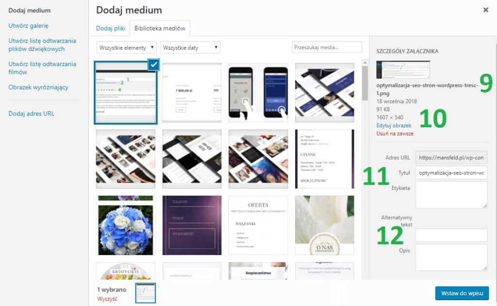 Biblioteka mediów WordPress