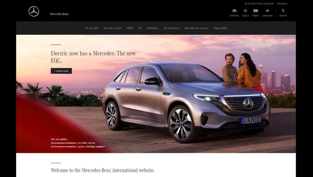 Najładniejsze strony internetowe WordPress - Mercedes Benz