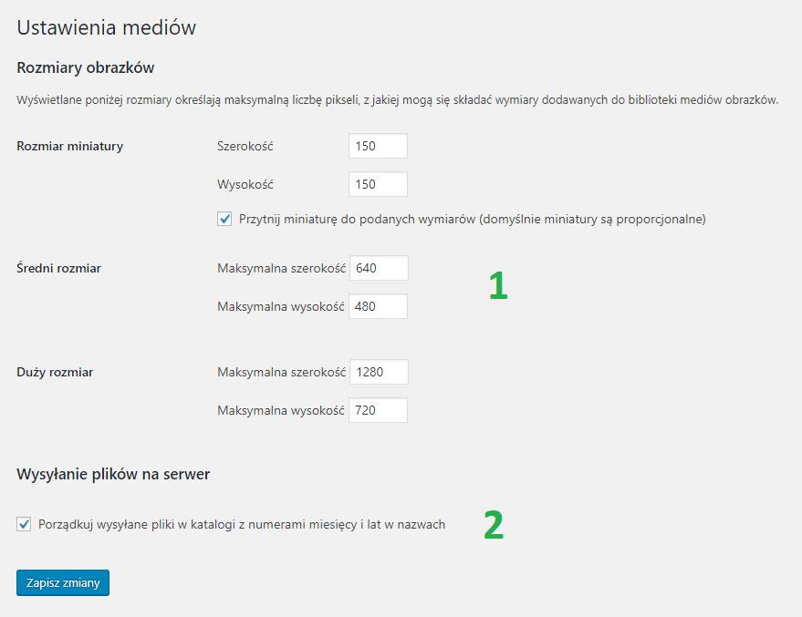Optymalizacja ustawienia mediów WordPress