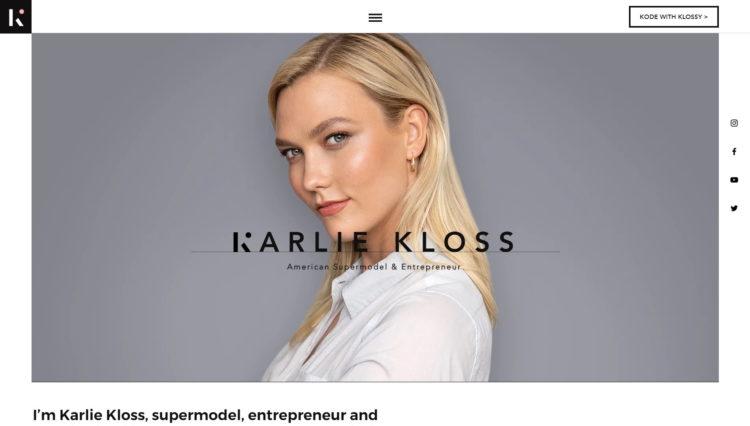 najładniejsze strony internetowe 2019 - karlie kloss