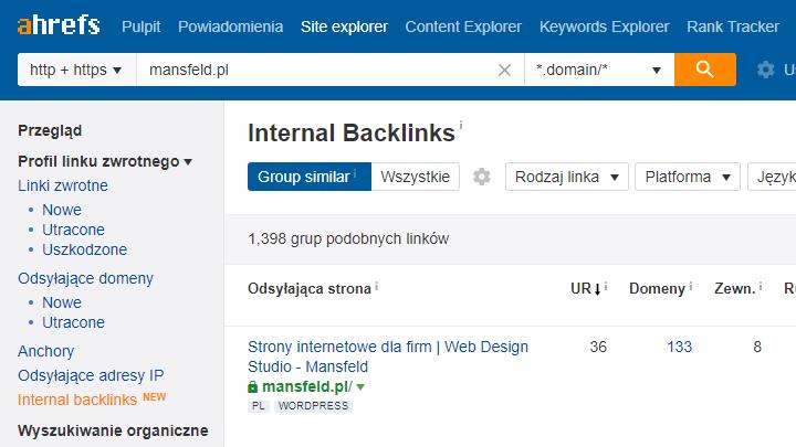 Analiza linkowania wewnętrznego za pomocą Ahrefs - zrzut ekranu